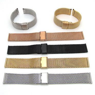 Shark Mesh Link Chainmail Type Stainless Steel Watch Band Straight Lug Strap